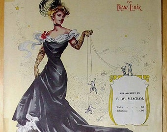 The Merry Widow Waltz Sheet Music - dated 1907 Old Original Large Format Antique Vintage