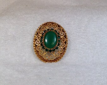 Vintage Filigree Brooch with Green Stones