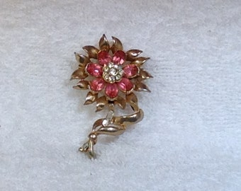 Coro Pink Flower Brooch
