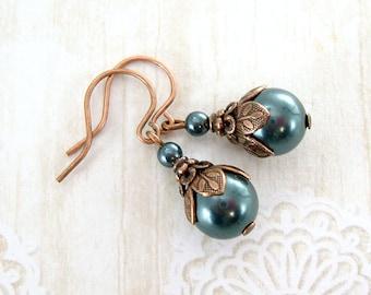 Dusky Teal Swarovski Pearl Earrings - Woodland Nature Jewelry - Dark Green Pearl Drop Earrings Neo Victorian Jewelry Antique Copper Earrings