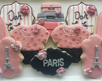 Paris Themed Baby Shower Cookies, French Sugar Cookies, Paris Sugar Cookies
