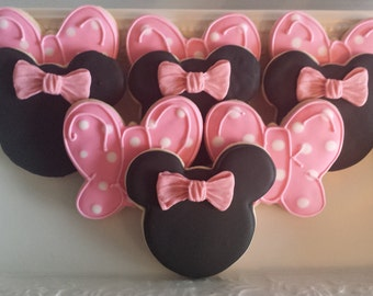 Minnie Mouse Cookies, minnie mouse sugar cookies Bow Sugar Cookies, Pink Bow Sugar Cookies