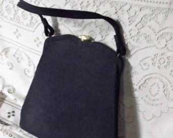 Vintage Dark Navy Handbag Vintage Estate Sale Women's Handbag