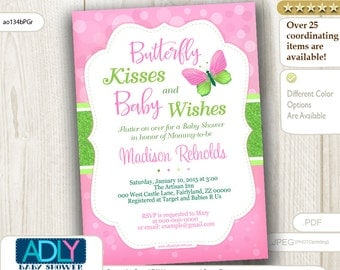 Lime Green Pink Butterfly Kisses and Baby WIshes Invitation for Baby Shower with bokeh, glitter, butterfly invitation, green- ao134bPGr