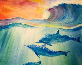 Original Dolphins Watercolor Painting 9x12