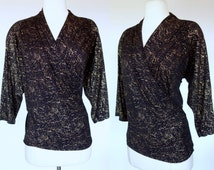 1980s wrap blouse, metallic gold and black stretch knit, long sleeve, V neck top, Large to XL