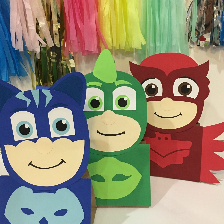 Pj masks party pj mask party decoration pj masks treat bags for Decoration 3d free
