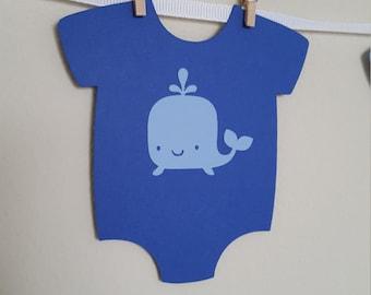 Whale Onesies Banner, DIY Onesies Banner, Whale Onesies, Whale Baby Shower, It's a Boy, Onesies, Onesie Banner