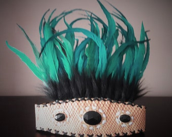 Indian Style headband with black fur and green  feathers