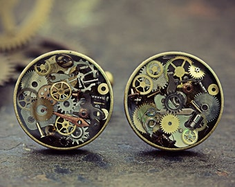 Steampunk Watch Part Cufflinks Steam Punk Jewelry For Men Round Cuff Links Eco Friendly Resin Cyberpunk Recycled Upcycled Gears Cogs Bronze