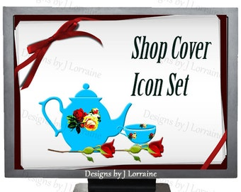 Vintage China Shop Banner, Teapot Teacup Glassware Store Header Graphic Design (2016.0006)