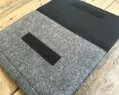 iPad Pro Sleeve - iPad Pro Case - iPad Pro Cover - Mottled Dark Grey and Choice of Inner Colours - 100% Wool Felt