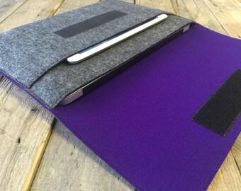 100% Wool Felt MacBook Case - MacBook Sleeve - Mottled Dark Grey and Dark Purple