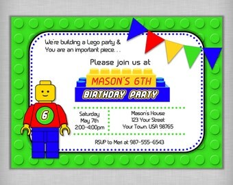 Birthday Party Invitation - Lego Inspired, Building Blocks, Boy's Party, Digital Download, Printable, DIY