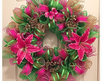 Pink, Lime and Burlap Deco Mesh Wreath/Summer Pink and Lime Lily Deco Mesh Wreath/Summer Wreath