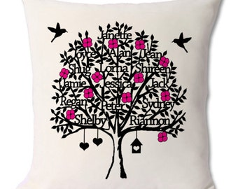 Personalised printed family tree cushion with inner