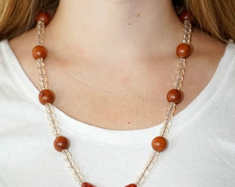 Wood Pendant and beaded necklace