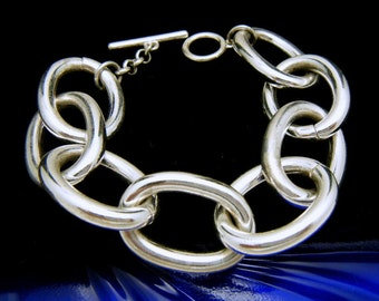 Large Link Bright Silver Tone Chain Bracelet Toggle Clasp