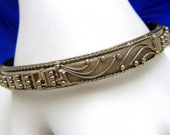 Vintage Silver Tone Bangle Mesh Beaded Unusual Design