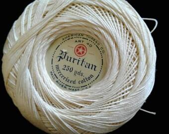 Puritan Mercerized cotton crochet thread by American Thread Co. Size 40