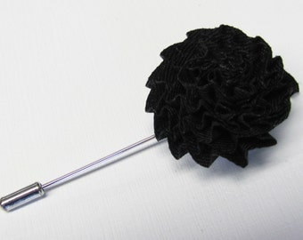 Boutonniere Black Silk Flower With 2 Inch Stick Lapel Pin