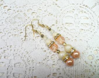 OOAK Handmade Ivory Orange Peachy Earrings - gold tone metal - rhinestone accents - fall wedding - bridesmaid gift - autumn bridal -pierced