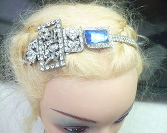 OOAK Vintage 1920s Art Deco RHINESTONE Blue Bridal Headband - Flapper bride - GATSBY wedding - silver tone metal - vintage repurposed- gift
