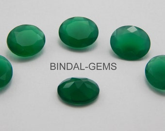 25 Pieces Wholesale Lot Green Onyx Oval Shape Faceted Cut Gemstone For Jewelry