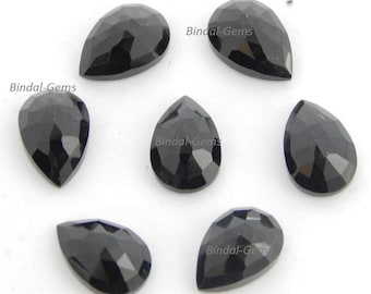 10 Pieces Wholesale Lot Black Onyx Pear Shape Rose Cut Loose Gemstone For Jewelry