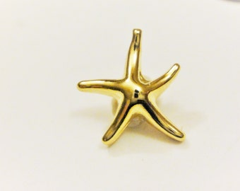 Vermeil, 18k gold over 925 sterling silver starfish, shiny gold starfish, starfish, vermeil starfish, sea life