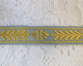 Vintage turquoise with golden jacquard trim