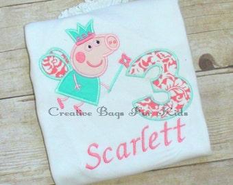Peppa Pig T-shirt/ Personalized Peppa Pig T-shirt/ Monogrammed Peppa Pig Shirt/ Birthday Number shirt