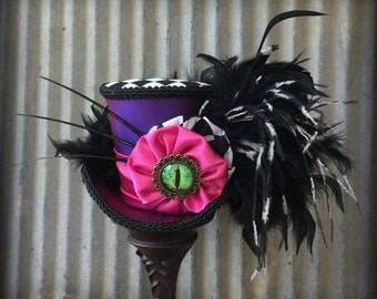 Mini Top Hat, Cheshire Cat Mini Top Hat, Purple and Pink Hat, Alice in Wonderland, Tea Party Hat, mad hatter hat,Purple and hot pink cat hat