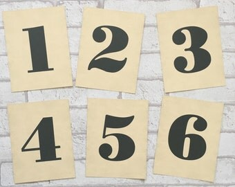 Wedding Table Number Cards - Simple, Type, Vintage Style Retro Rustic