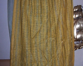 Vintage  DRAPES  CURTAINS   Mesh Fabric  Yellow/Gold  4Panels   1970s