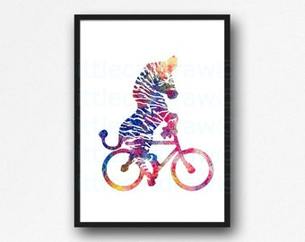 Zebra Print Rainbow Zebra Riding a Bicycle Print Watercolor Animal Painting Zebra Bike Wall Art Colorful Zebra Giclee Print Unframed