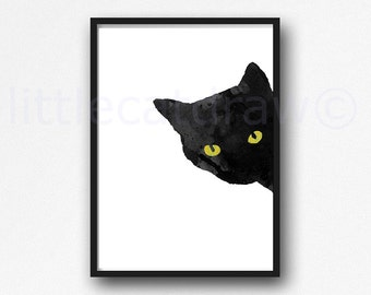 Sneaky Cat Print Black Cat with Golden Yellow Eyes Sneaky Cat Print Watercolor Cat Art Black Cat Painting Watercolour Wall Art Unframed