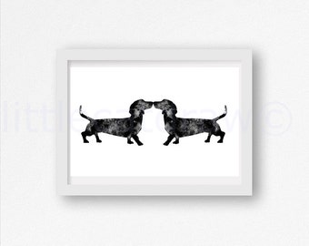 Dog Print Black Dachshund Sausage Dogs Print Kiss Dogs Kissing Watercolor Painting Print Dog Watercolour Wall Art Watercolor Doxie Dog