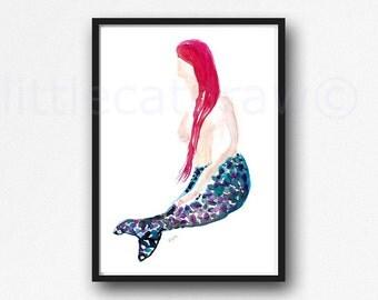 Mermaid III Painting Abstract Minimalist Watercolor Mermaid Art Print Watercolour Mermaid Painting