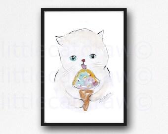 Cat Print Cat Eating Ice Cream White Kitty Cat Print Watercolor Painting Print Cat Illustration Art Watercolour Wall Art Unframed