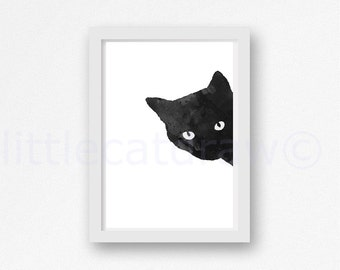 Black Sneaky Cat Print Illustration Art Print Bedroom Wall Decor Cat Watercolor Black Cat Print Black and White Print Unframed Art Print