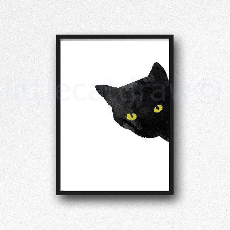 Sneaky Cat Print Black Cat with Golden Yellow Eyes Bedroom Wall Decor  Watercolor Cat Art Black Cat Painting Watercolour Wall Art