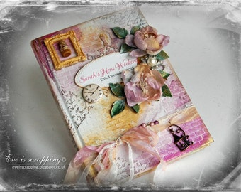Custom Alice in Wonderland  Shabby Chic Wedding Guest Book with Personalised Hen Party - Made to Order in Your Colours/Theme Steampunk  Boho