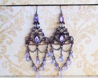 Victorian style purple chandelier earrings