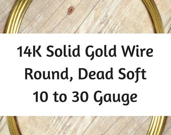 15% OFF 14K Solid Gold Wire, 10 12 14 16 18 20 21 22 24 26 28 30 Gauge, Round, Dead Soft, 14K Gold Wire