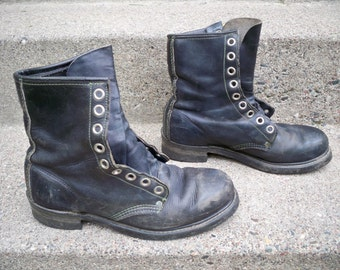 Vintage Biltrite Made in USA Steel Toe Black Leather Mens Work Riding Motorcycle Boots Size 8 Wide