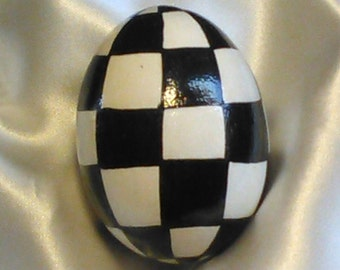 Hand Painted Egg/ Checkerboard