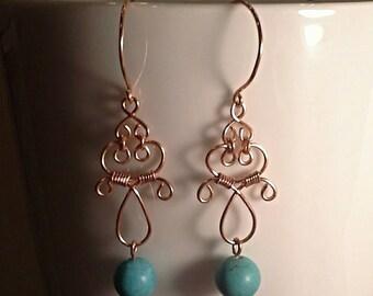 Copper and Magnesite Earrings, turquoise, dangle earrings, boho, artsy, natural stone