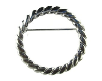 Mid Century Twisted Silver Tone Eternity Circle  Pin Brooch