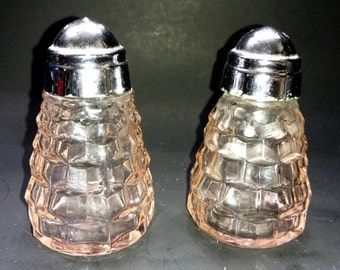 Vintage #11 Hong Kong Pink Glass Salt & Pepper Shakers (146-1)